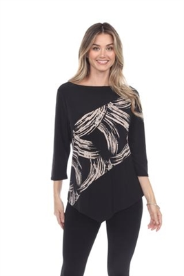 Asymmetrical top - black/taupe - polyester/spandex