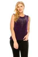 Purple tank top with stone trim - waterfall design- acetate/spandex