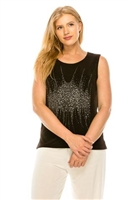 Black tank top with stone trim - cluster design- acetate/spandex