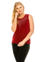 Cranberry tank top with stone trim - cluster design- acetate/spandex