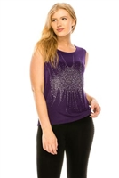 Purple tank top with stone trim - cluster design- acetate/spandex