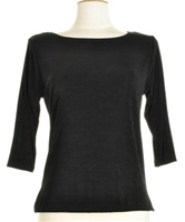 3/4 sleeve top - black - acetate/spandex