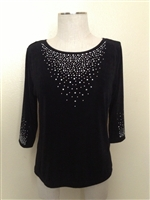 3/4 sleeve top with rhinestones - black - acetate/spandex
