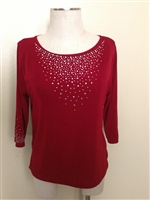 3/4 sleeve top with rhinestones - cranberry - acetate/spandex