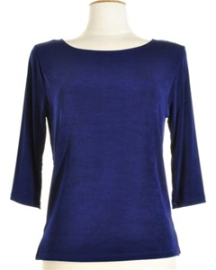 3/4 sleeve top - navy - acetate/spandex