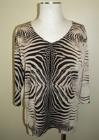 3/4 sleeve top with rhinestones - brown tiger print