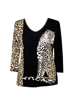 3/4 sleeve top with rhinestones - sitting leopard
