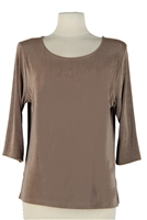 3/4 sleeve top - taupe - acetate/spandex