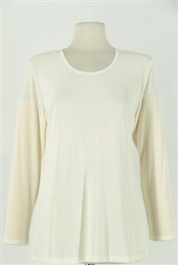 Long sleeve top - ivory - acetate/spandex