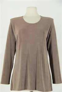 Long sleeve top - taupe - acetate/spandex