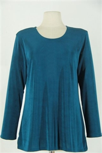 Long sleeve top - teal - acetate/spandex