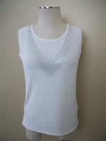 Tank top with v-shape stones - ivory - acetate/spandex