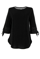 Tie top with rhinestones on sleeves  - black - acetate/spandex