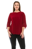 Tie sleeve top with rhinestones  - cranberry - acetate/spandex
