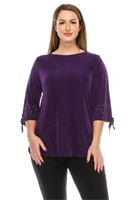 Tie sleeve top with rhinestones  - purple - acetate/spandex