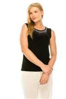 Black tank top with rhinestone  trim- acetate/spandex