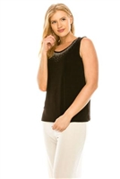 Tank top with rhinestone trim -  brown - acetate/spandex