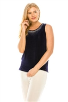 Tank top with rhinestone trim - navy - acetate/spandex