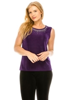 Tank top with rhinestone trim -  purple - acetate/spandex