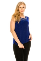 Tank top with rhinestone trim -  royal blue - acetate/spandex