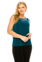 Tank top with rhinestone trim - teal - acetate/spandex