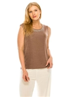 Tank top with rhinestone trim -  taupe - acetate/spandex