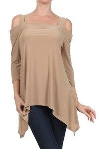 Cold-shoulder 3/4 sleeve top - beige - polyester
