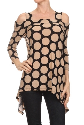 Cold-shoulder 3/4 sleeve top - black/tan polkadots - polyester