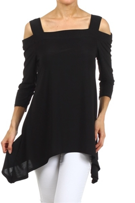 Cold-shoulder 3/4 sleeve top - black - polyester