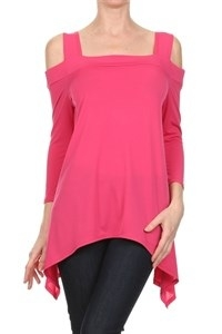 Cold-shoulder 3/4 sleeve top - pink - polyester