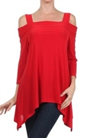 Cold-shoulder 3/4 sleeve top - red - polyester