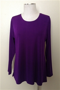 Long sleeve top - purple - polyester/spandex