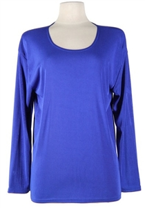 Long sleeve top - royal blue - polyester/spandex