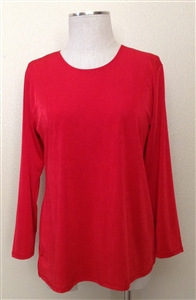 Long sleeve top - red - polyester/spandex