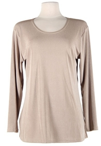 Long sleeve top - taupe - polyester/spandex