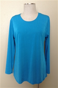 Long sleeve top - turquoise - polyester/spandex