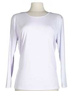 Long sleeve top - white - polyester/spandex