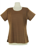 Short sleeve top - brown - polyester/spandex
