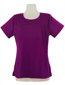 Short sleeve top - purple - polyester/spandex