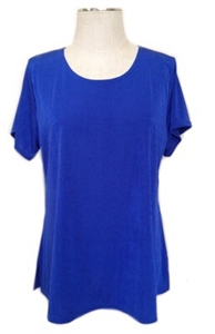 Short sleeve top - royal blue - polyester/spandex