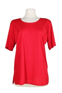 Short sleeve top - red - polyester/spandex