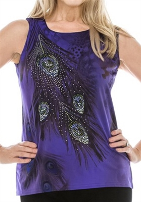 Tank top - purple - feathers with stones - polyester/spandex