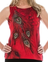 Tank top - red - feathers with stones - polyester/spandex