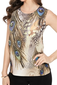 Tank top - sand - feathers with stones - polyester/spandex