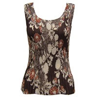 Tank top - popcorn pleats - georgette chocolate ivory floral