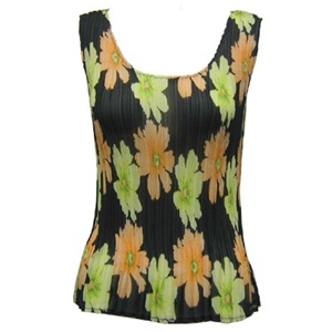 Tank top - popcorn pleats - georgette hibiscus peach green