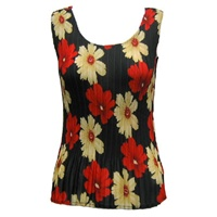 Tank top - popcorn pleats - georgette hibiscus red tan