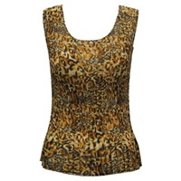 Tank top - mini pleats - georgette leopard print