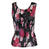 Tank top - popcorn pleats - georgette mums pink black