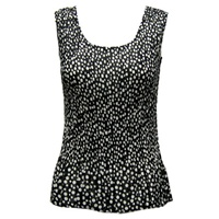Tank top - popcorn pleats - georgette polka dot black white